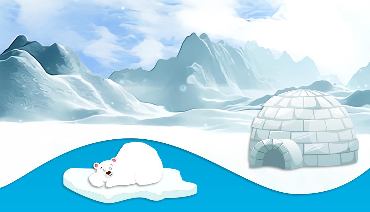 Koda sleeping in the Arctic